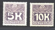 Austria, 1911 – 5 kr and 10 kr value – Michel TX 45/46