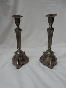 Two Pewter candlesticks