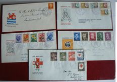 The Netherlands 1952/1954 - Selection of 5 FDCs - NVPH E12 through E16.
