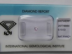 Natural Fancy Light Pinkish Purple  pear cut diamond. 0.13 ct  with IGI certificate
