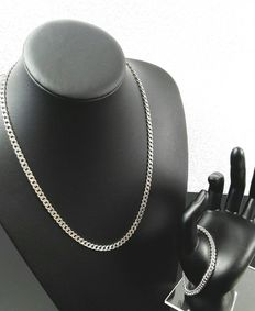 Silver gourmet link necklace and bracelet set - 925 - Necklace length: 53.5 cm - Bracelet length: 19 cm