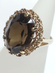 Vintage ring with oval cut tourmaline, 6 ct, green, clarity: VS1