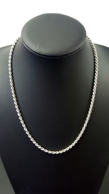 Twisted silver necklace, 925 52 cm, width: 4 mm, weight: 22.6 grams, 925 k