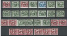 """The Netherlands 1940 – Number type """"Guilloche"""" including strips with plate error – NVPH 356/373 + 356 a/d"""