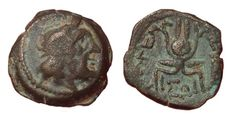 Greek Antiquity - Ptolemaic Kings of Egypt, Cleopatra III and Ptolemy IX Soter II (Lathyros), 116-110 BC - Æ Chalkous (15mm; 2,76g.) - Kyrene mint - Head Zeus-Ammon / Headdress of Isis - Noeske 392