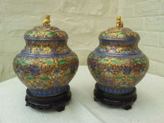 Two colourful cloisonne pots with lid with golden dragon - China - second part 2th century