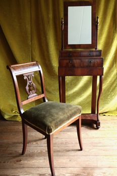 Biedermeier mahogany dressing table and a mahogany Empire chair - the Netherlands, about 1850