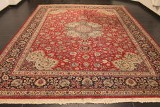 Magnificent, antique, hand-knotted, Art Nouveau, Persian carpet, Tabriz, garden paradise carpet, with medallions, 290 x 360cm, made in Iran, circa 1930, cork wool, natural dyes, collector's item