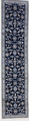 Persian Nain runner with silk, 287 x 68 cm.