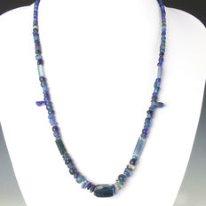 Necklace with Roman blue glass beads - 56 cm