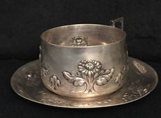 Cup and saucer - 1876, France - silversmith Evrot Ernest