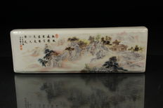 Porcelain scroll painting paperweight - China - Late 20th century
