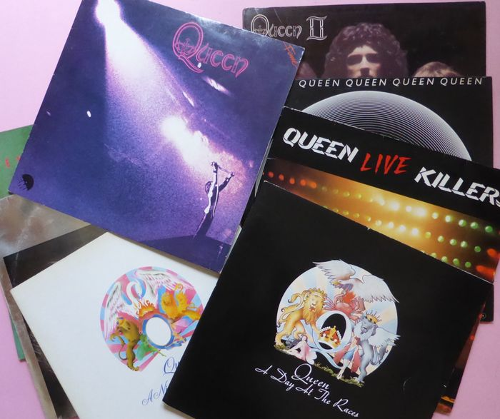 Set of 8 early Queen LP Albums, including live double album