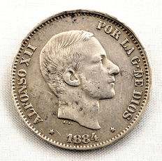 Spain – Alfonso XII – 50 cents of peso in silver – 1884 – Manila