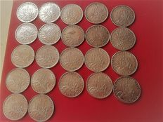 "France - 1 France ""Semeuse"" 1898 to 1920 (series of 22 different coins) - Silver"