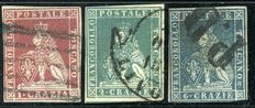 Tuscany, 1851 – selection of 3 stamps