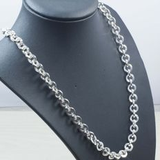Italian design necklace in 925/1000 silver – Length: 60 cm – Weight: 28.00 g