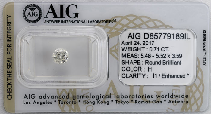 0.71  ct Brilliant cut  Diamond  H  I1
