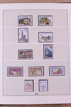 Europa Stamps 1978/1984 – Complete collection CEPT in Lindner Falzlos T-type preprint album.