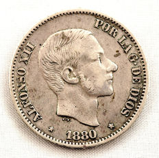 Spain – Alfonso XII – 50 cents of peso in silver – 1880 – Manila