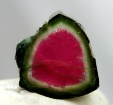 Self Standing Natural Watermelon Tourmaline Slice - 17*17*17 mm - 9gm -  22 cts