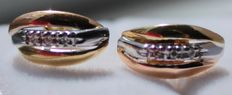 Gold earrings in 14 kt, inlaid with diamond - Length: 1.2 x 0.5 cm