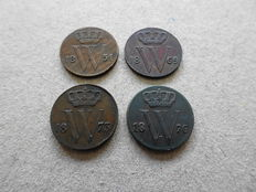 The Netherlands – ½ cent 1851, 1869, 1873 and 1876 Willem III