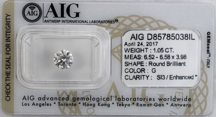 1.05  ct Brilliant cut  Diamond  G  SI3