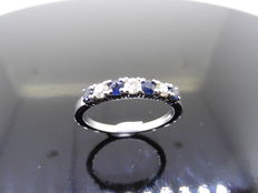 18k Gold Sapphire and Diamond Eternity Ring - size 54