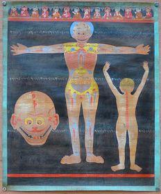 Medical thangka - Tibet - Second half of the 20th century.