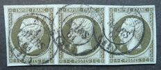 France 1860 - 1 c olive in a strip of 3 signed Calves with digital Calves and Jacquard certificate - Yvert no. 11