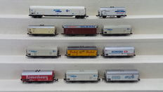Minitrix/Fleischmann/Roco N - 3257/51326200/25093/13248 - 11 Chiller amd Closed goods wagons and a Rail-cleaning wagon. of the DB