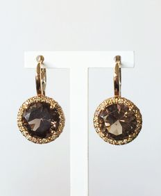 Centoventuno - 18k pink gold pendent earrings with smoky quartz and diamonds - Length 23mm