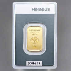 Gold bar, 10 grams, Heraeus - 999 fine gold - with certificate