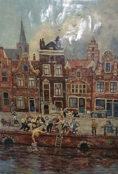 Unknown (20th century) -  Amsterdam canal view with people