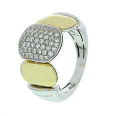 Chimento – 'Double Join' bicolour women's ring with diamonds – Ring size 17.25