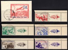 German Occupation of France 1942 - flight postmark F + 10 Fr. and war representations - Michel V-X