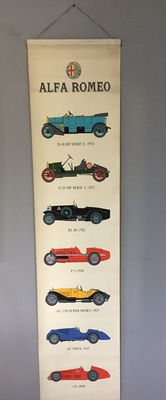Alfa Romeo - Large Poster / Courbet silkscreen - from 1910 to 1950 - 46 x 200 cm