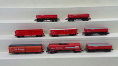Fleischmann/Minitrix N - 8293/8292/15209/15129 - 8 Goods wagons Tanker and Closed and Open boxcars of the DB Cargo/NS Cargo