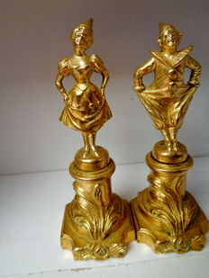 Pierrot and Pierette - a pair of gold0plated bronze sculptures - early 1900s