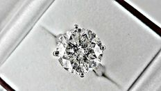 12.27 ct round diamond ring made of 18 kt white gold - size 6