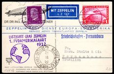 "German Reich - 1932 - ""airship Graf Zeppelin 1st South America journey LZ 127"" on a circulated card to Brazil, Michel 455"