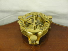 Maritime Instrument - Brass Sundial with Compass