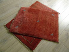 Original Set of Two Hand Knotted Persian Gabbeh Certificate !