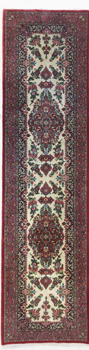 Persian rug. very fine Ghom runner with silk, 307 x 82 cm.