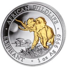 1 oz African Wildlife Series Elephant 2016 - 100 Shillings - 999 Silver - Silver Coin with 24 Carat Gold Plating