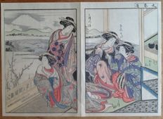 dyptich coloured woodcut of four women in kimono with a snowy mount Fuji and a GO board in the background – Japan – ca. 1920