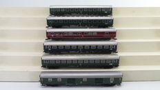 Fleischmann H0 - 5101/5103/5104/5105 - 6 High speed train Passenger carriages 1st/2nd class, Dining carriage and Post/baggage carriage of the DB