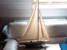 Large wooden sailboat rainbow.