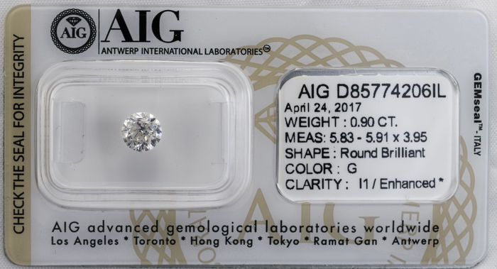 0.90  ct Brilliant cut  Diamond  G  I1